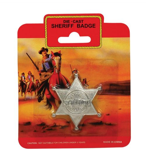Sheriff Badge - Metal for Wild West Cowboy Cop Police Bounty Hunter Fancy Dress